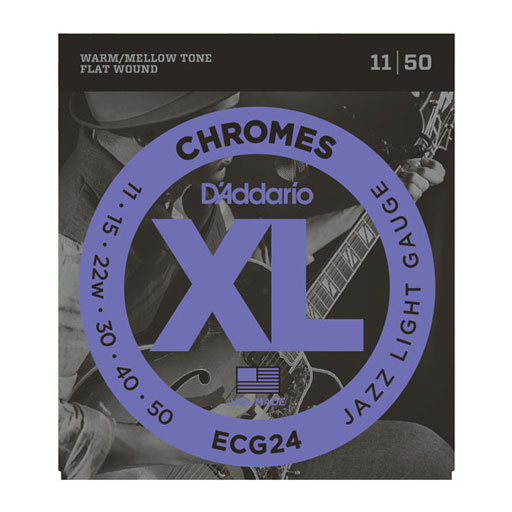 DAddario ECG24 Chromes Flat Wound Jazz Light 11-50 Electric Strings - Bananas at Large