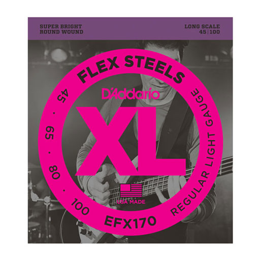 DAddario EFX170 FlexSteels Bass Strings - Light 45-100 Long Scale - Bananas at Large