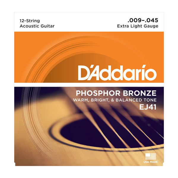 D'Addario EJ41 12-String Phosphor Bronze Extra Light Acoustic Strings 9-45 - Bananas At Large®
