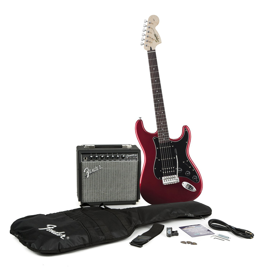 Squier Affinity Series Strat HSS with Fender Champion 20 Amp Pack - Candy Apple Red - Bananas at Large - 2