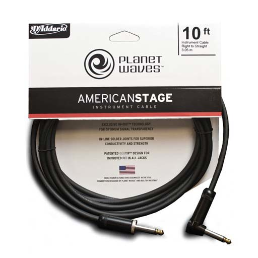 Planet Waves PW-AMSGRA-10 American Stage Instrument Cable, Right to Straight, 10 feet - Bananas at Large