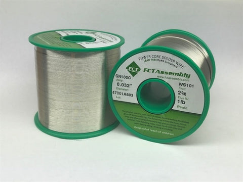 SN100C FCT WS101 2% Flux Core Wire Solder, Water Soluble