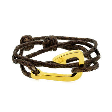GAETA HOOK BROWN BRAIDED LEATHER GP - Castellamare