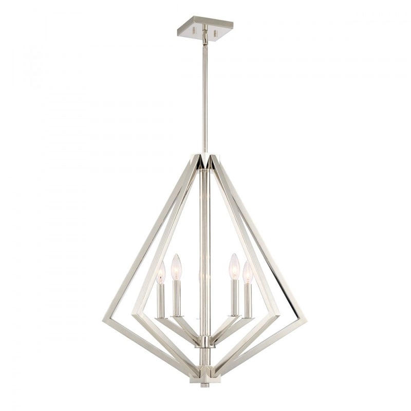"Artcraft Breezy Point luminaire suspendu 25"" 5 lumieres nickel brossé AC10685PN"