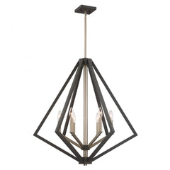 "Artcraft Breezy Point luminaire suspendu 30"" 6 lumieres bronze huilé et laiton satiné AC10686BZ"