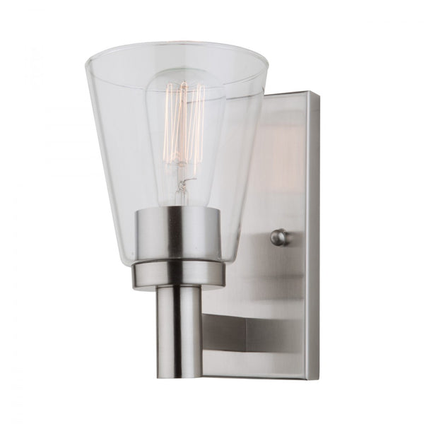 Artcraft Clarence luminaire mural simple nickel brossé AC10767BN
