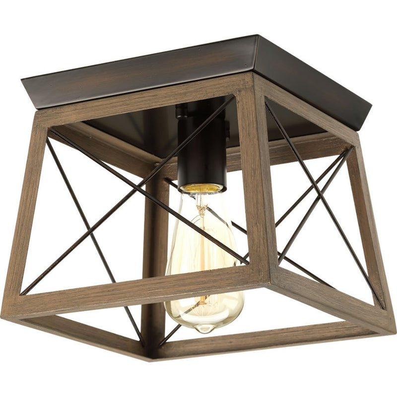 "Progress Lighting Briarwood plafonnier simple 9 1/2"" bronze antique et faux-fini chene P350022-020"