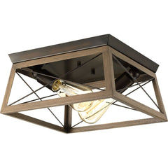 "Progress Lighting Briarwood plafonnier double 12"" bronze antique et faux-fini chene P350039-020"