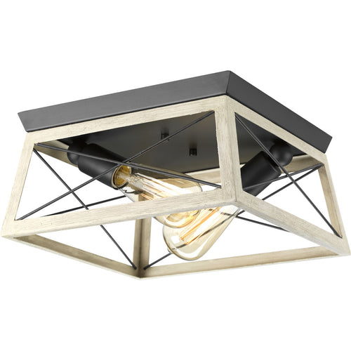 "Progress Lighting Briarwood plafonnier double 12"" blanc lavé et faux-fini chene P350039-143"