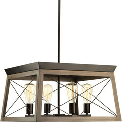 "Progress Lighting Briarwood luminaire suspendu 4 lumieres 20"" bronze antique et faux-fini chene P400047-020"