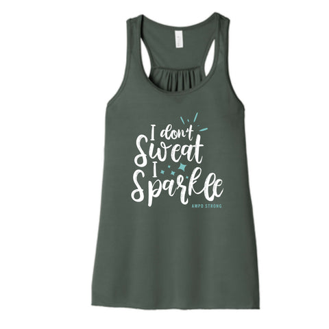 """I Don't Sweat"" Women's Flowy Racerback Tank"