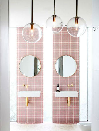 Glass Ball Pendant Lights in Bathroom | Rebecca Judd