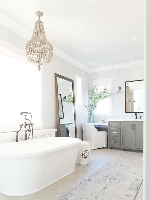 Beaded Chandelier Over Bath Tub | Lighting Collective
