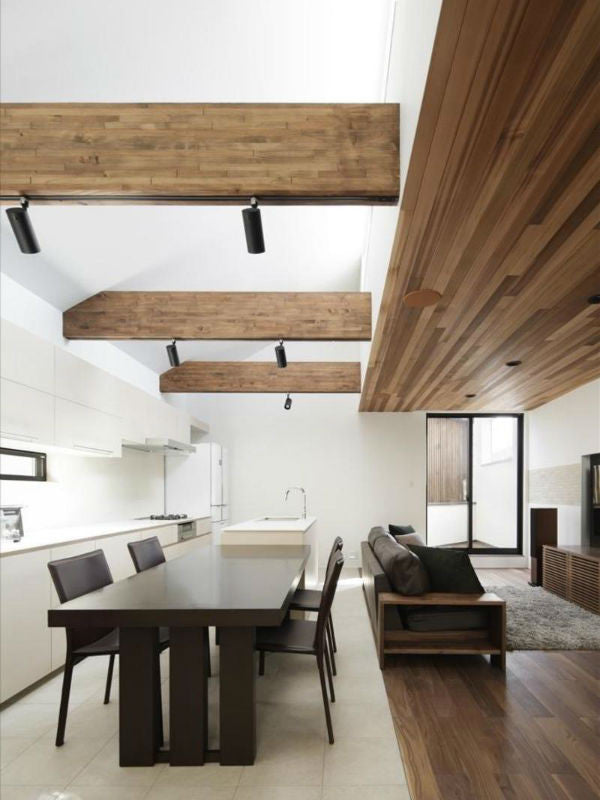 Black Track Lighting on Timber Beams | TSC Architects