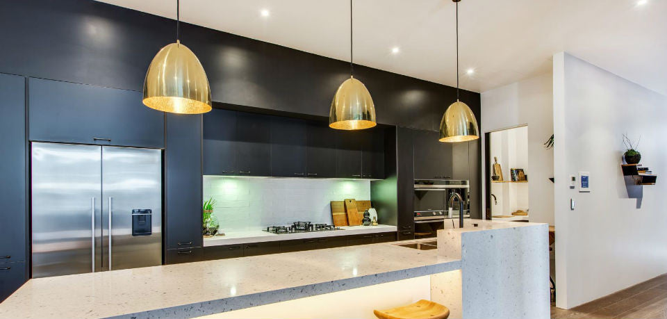 Brass Pendant Lights Over Kitchen Island Bench | The Block