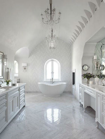 Crystal Chandeliers in Bathroom