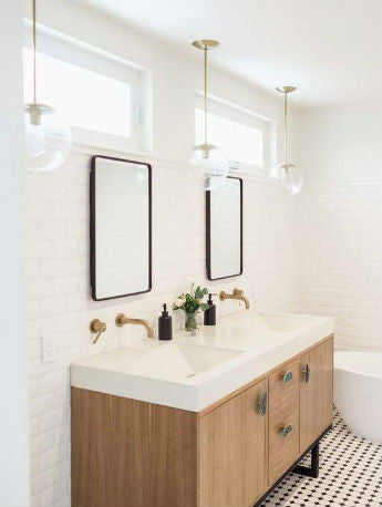 Glass Ball Pendant Light Over Bathroom Vanity | Lighting Collective