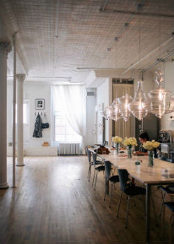 ... Row Of Glass Pendant Lights Over Dining Table | Lighting Collective ...