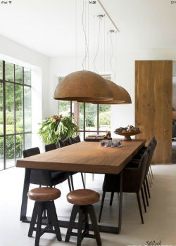 ... Large Dome Pendant Lights Over Dining Table | Lighting Collective  Industrial Dining Room ...