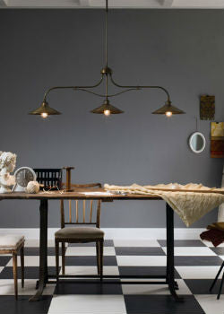 Multi-Light Italian Brass Pendant Over Dining Table | Lighting Collective
