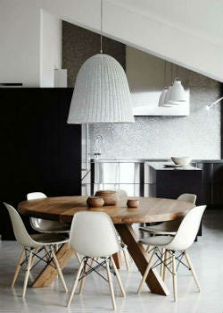 Tall Bell Pendant Light Over Dining Table | Lighting Collective