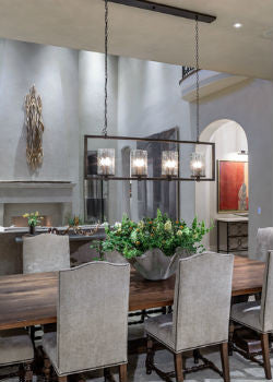 Rectangular Glass Pendant Light Luxe Dining Room | Lighting Collective