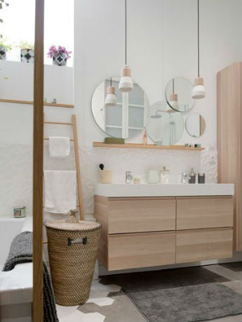 ... White And Timber Pendant Lights Over Bathroom Vanity | Lighting  Collective