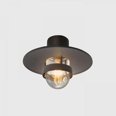 Modern Caged Exterior Ceiling Light |  Black