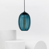 Glass Modern Geometric Oval Sphere | Assorted Finish steel blue