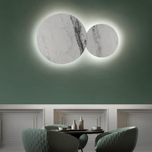 Large White Marbled Wall Lights | Assorted Style marble circle