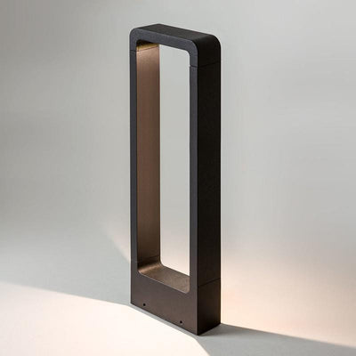 Contemporary Black Exterior Bollard Illuminated