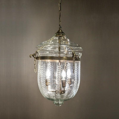Bell Jar Lantern | Brass & Leaf Cut Glass | Assorted Sizes-Pendants-Emac & Lawton-Lighting Collective