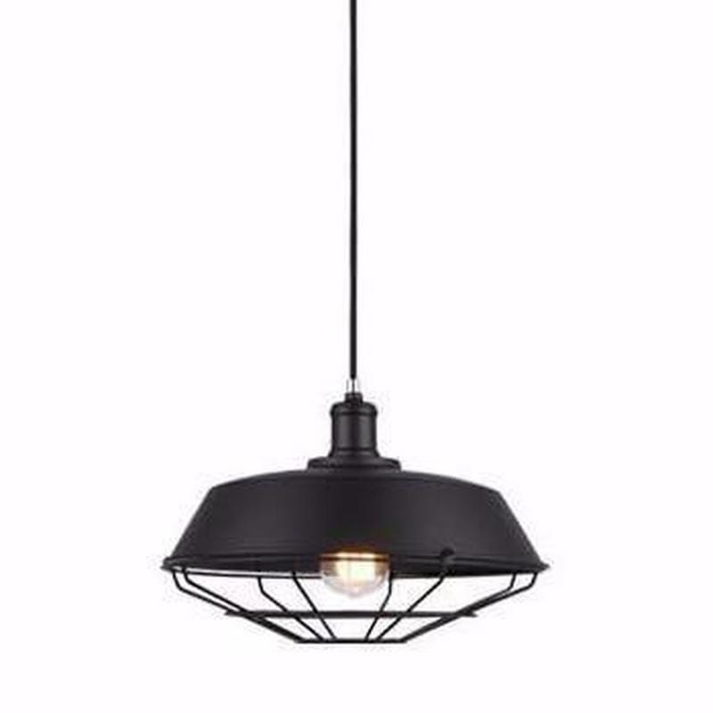 Caged Industrial Styled Black Pendant Light