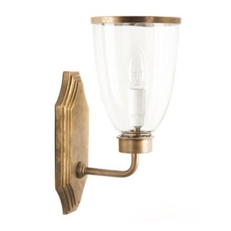 Classic Brass Wall Light with Glass Shade - Brass