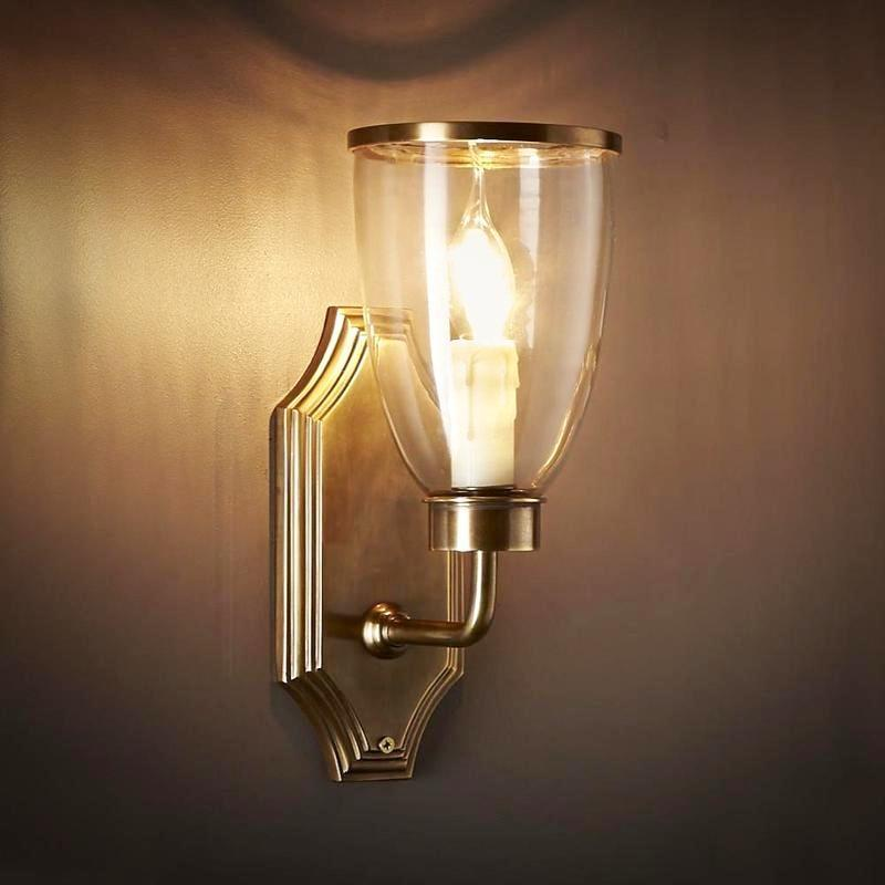 Classic Brass Wall Light with Glass Shade