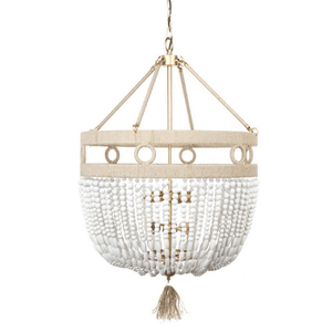 Beaded Wood Textured Chandelier | Lighting Collective