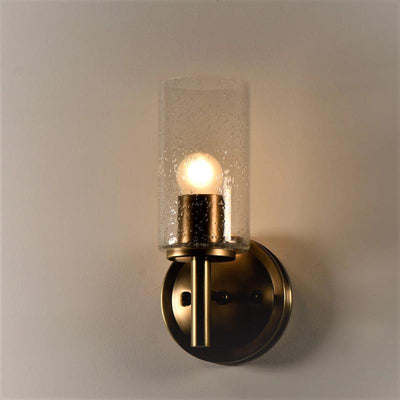 Brass and glass wall light seeded