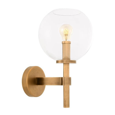 Elegant Transitional Sphere Wall Light | Antique Brass