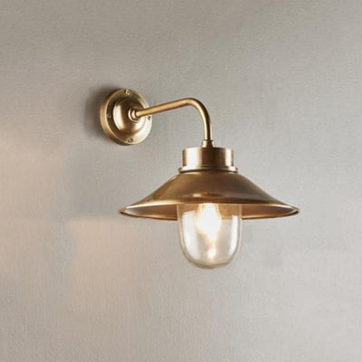Brass Exterior Light with Shade