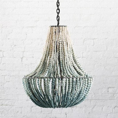 Aqua and White Ombre Clay Beaded Pendant Light