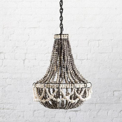 Grey Clay Beaded Pendant Light with White Band | Lighting Collective