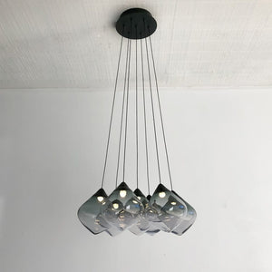 Seven Drop Grey Glass Cluster Pendant | Lighting Collective