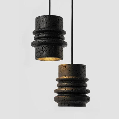 Lava Stone Suspended Pendant 3 and 4 Ringed Options - Lighting Collective
