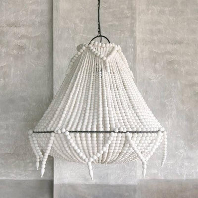 Large Natural Wooden Beaded Chandelier white Wash