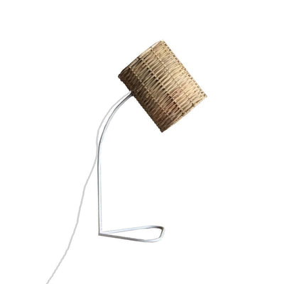 Natural Rattan Shade Table Lamp White