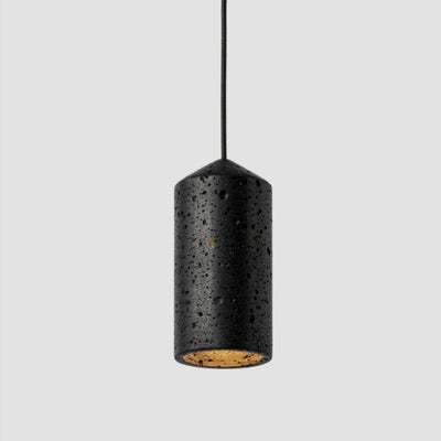 Organic Cylindrical Pendant in Black Lava Stone - Lighting Collective