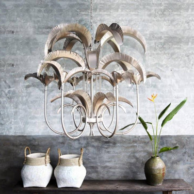 Artistic Suspended Palm Chandelier in Pewter | Lighting Collective