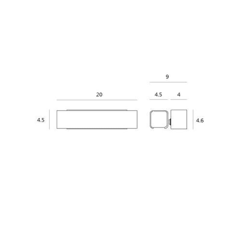 White Movable Bar Shade LED Wall Light - Diagram