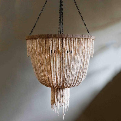 Natural Wooden Beaded Chandelier | Assorted Finishes-Chandeliers-Gypset Cargo-Lighting Collective