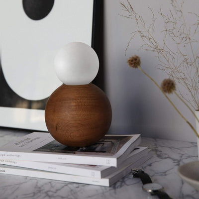 Oak Sphere Table Lamp American Oak - Lighting Collective.